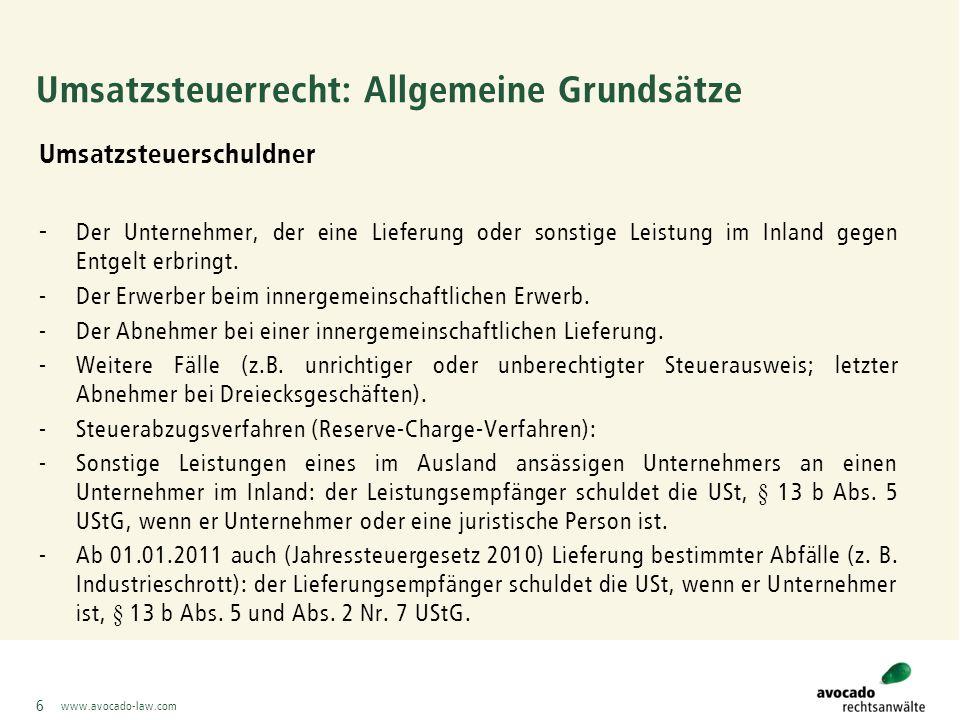 """www.avocado-law.com Steuerabzugsverfahren (Reverse-Charge-Verfahren) BMF-Schreiben vom 04.02.2011 zu den Änderungen bei § 13 b) UStG durch das Jahressteuergesetz 2010 :  Lieferungen von Industrieschrott, Altmetallen und sonstigen Abfallstoffen: nähere Erläuterungen zur Einordnung der entsprechenden Stoffe;  in Zweifelsfällen: Möglichkeit einer unverbindlichen Zolltarifauskunft (Nachteil: Dauer, nur für die konkrete Lieferung und zwingende Einreichung einer Probe!);  Regelungen zu Abfallgemischen;  Vereinfachungsregelung (Anwendungsregelung): """"Vereinbarung des Reverse- Charge-Verfahrens nach § 13 b) UStG."""