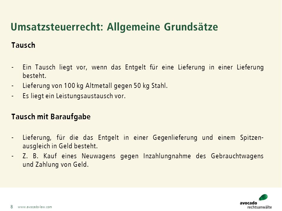 www.avocado-law.com 69 Beispiele avocado Fall 29: In Abwandlung des vorherigen Beispiels richtet sich der Entsorgungspreis für die Sortierreste nach deren Heizwert: - Weniger als 5.000 KJ/kg: 100,00 Euro/t - 5.000 bis 12.000 KJ/kg: 80,00 Euro/t - 12.000 bis 15.000 KJ/kg: 100,00 Euro/t - Über 15.000 KJ/kg: 120,00 Euro/t Lösung: Der Preis für die Entsorgungsleistung, d.