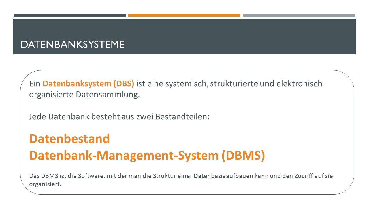 DATENBANKSYSTEME Ein Datenbanksystem (DBS) ist eine systemisch, strukturierte und elektronisch organisierte Datensammlung.