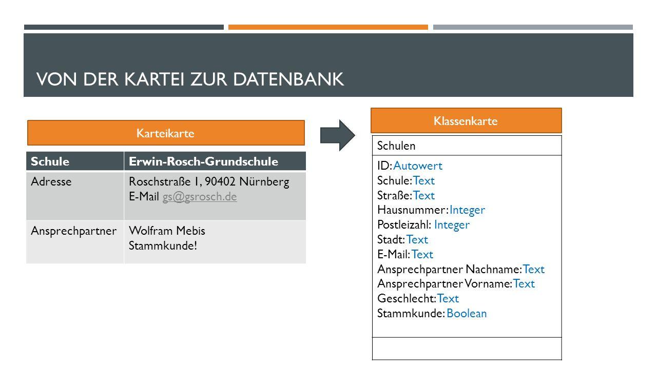VON DER KARTEI ZUR DATENBANK SchuleErwin-Rosch-Grundschule AdresseRoschstraße 1, 90402 Nürnberg E-Mail gs@gsrosch.degs@gsrosch.de AnsprechpartnerWolfram Mebis Stammkunde.