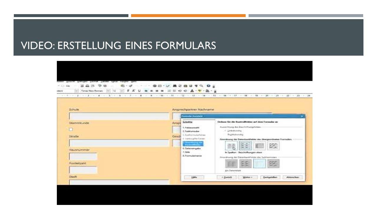 VIDEO: ERSTELLUNG EINES FORMULARS