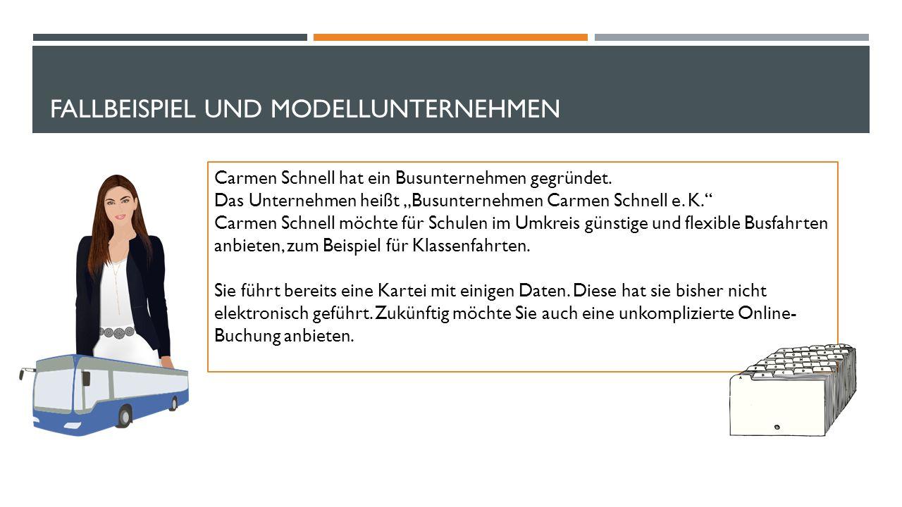 FALLBEISPIEL UND MODELLUNTERNEHMEN Carmen Schnell hat ein Busunternehmen gegründet.
