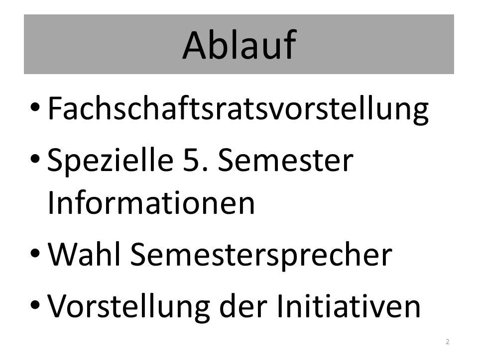 Ablauf Fachschaftsratsvorstellung Spezielle 5. Semester Informationen Wahl Semestersprecher Vorstellung der Initiativen 2