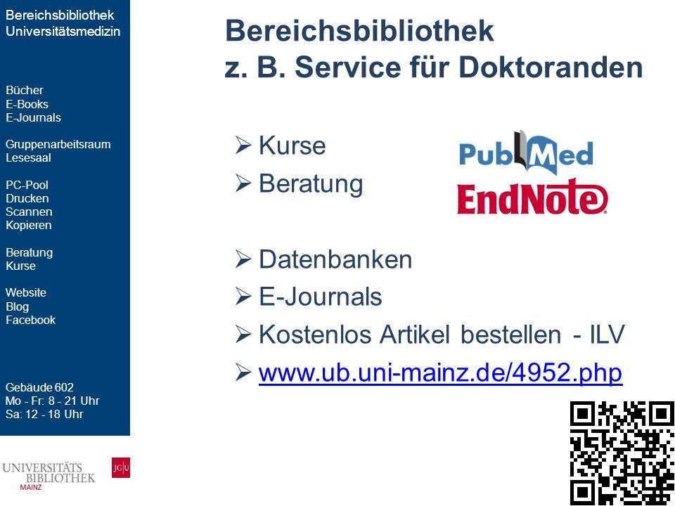  Kurse  Beratung  Datenbanken  E-Journals  Kostenlos Artikel bestellen - ILV  www.ub.uni-mainz.de/4952.php www.ub.uni-mainz.de/4952.php Bereichs