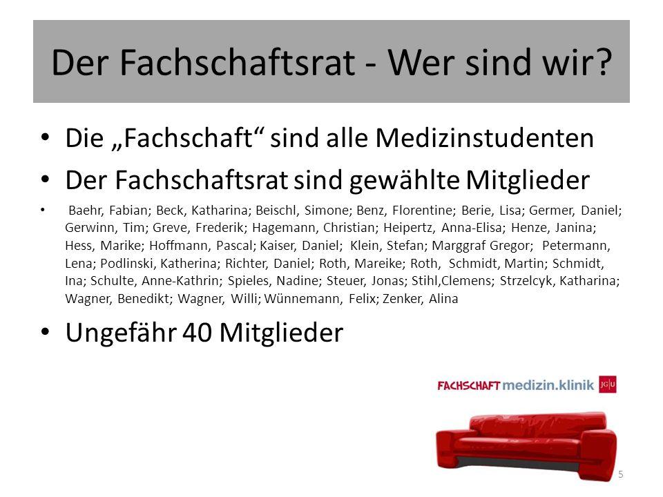 """Der Fachschaftsrat - Wer sind wir? Die """"Fachschaft"""" sind alle Medizinstudenten Der Fachschaftsrat sind gewählte Mitglieder Baehr, Fabian; Beck, Kathar"""