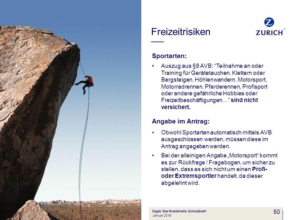 """50 Sportarten: Auszug aus §9 AVB: """"Teilnahme an oder Training für Gerätetauchen, Klettern oder Bergsteigen, Höhlenwandern, Motorsport, Motorradrennen,"""