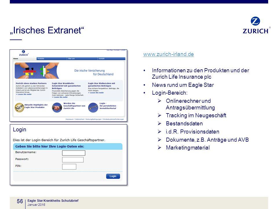 """""""Irisches Extranet"""" Eagle Star Krankheits-Schutzbrief 56 www.zurich-irland.de Informationen zu den Produkten und der Zurich Life Insurance plc News ru"""
