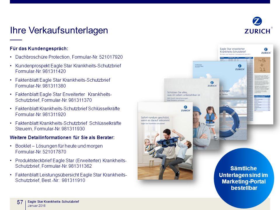 Ihre Verkaufsunterlagen Für das Kundengespräch: Dachbroschüre Protection, Formular-Nr. 521017920 Kundenprospekt Eagle Star Krankheits-Schutzbrief Form
