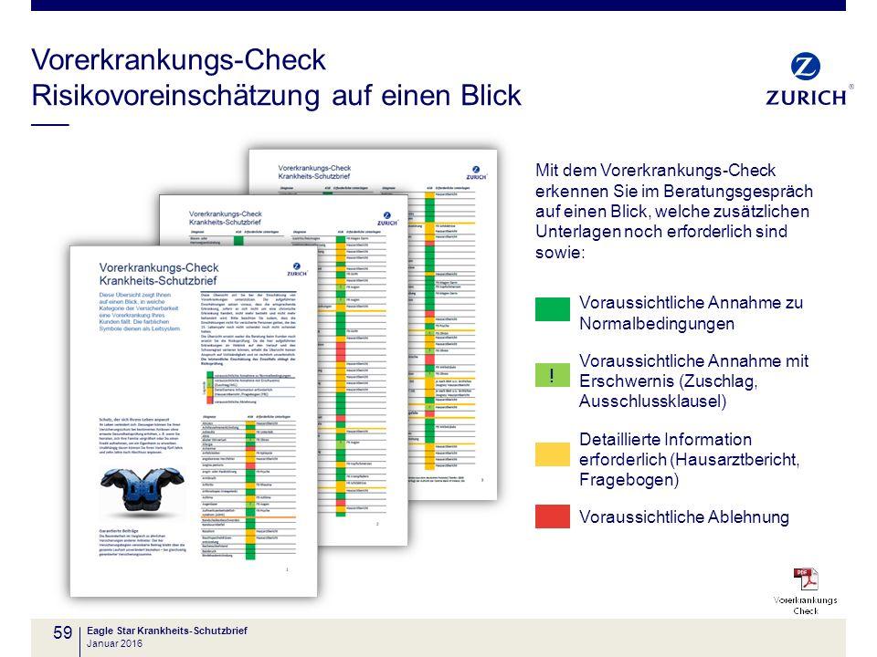 Vorerkrankungs-Check Risikovoreinschätzung auf einen Blick 59 Eagle Star Krankheits-Schutzbrief Mit dem Vorerkrankungs-Check erkennen Sie im Beratungs