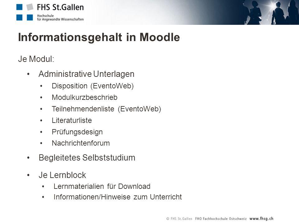 Informationsgehalt in Moodle Je Modul: Administrative Unterlagen Disposition (EventoWeb) Modulkurzbeschrieb Teilnehmendenliste (EventoWeb) Literaturli