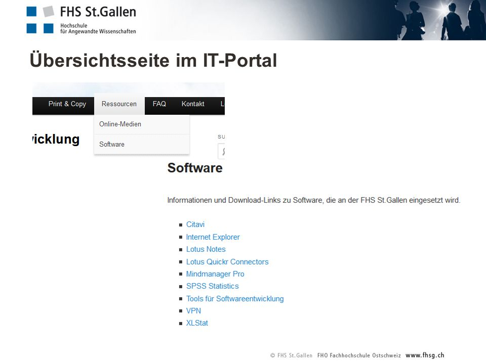 Übersichtsseite im IT-Portal