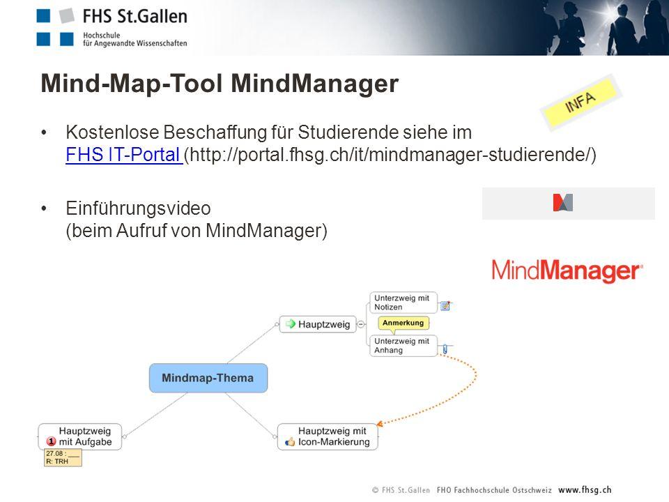 Mind-Map-Tool MindManager Kostenlose Beschaffung für Studierende siehe im FHS IT-Portal (http://portal.fhsg.ch/it/mindmanager-studierende/) FHS IT-Portal Einführungsvideo (beim Aufruf von MindManager)