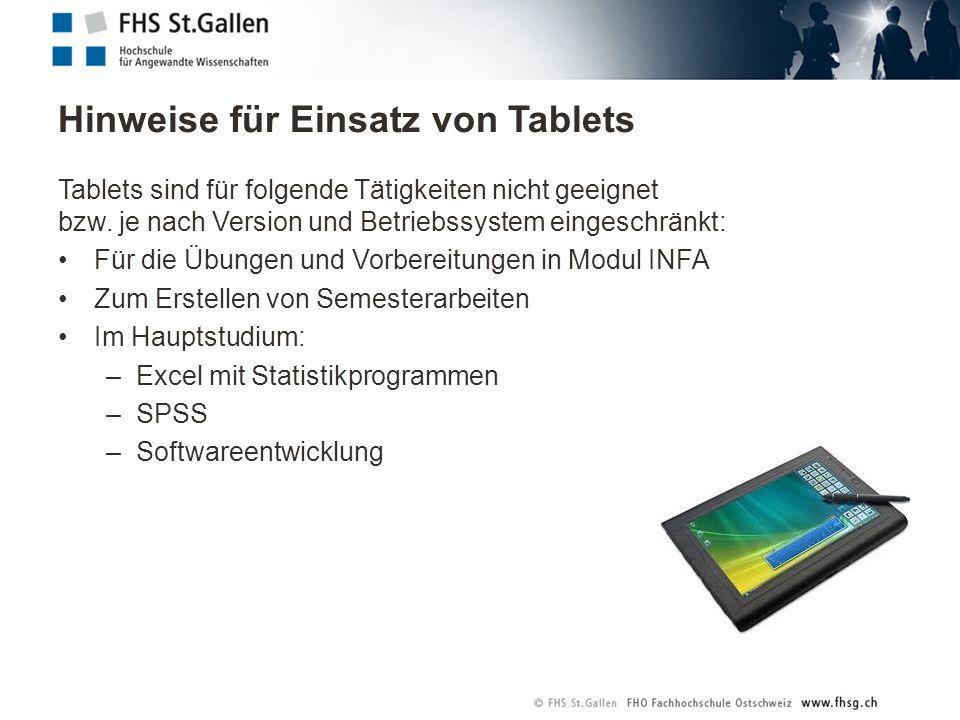 Hinweise für Einsatz von Tablets Tablets sind für folgende Tätigkeiten nicht geeignet bzw. je nach Version und Betriebssystem eingeschränkt: Für die Ü