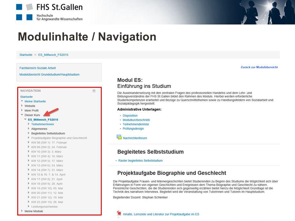 Modulinhalte / Navigation