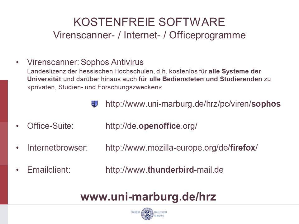 KOSTENFREIE SOFTWARE Virenscanner- / Internet- / Officeprogramme Virenscanner: Sophos Antivirus Landeslizenz der hessischen Hochschulen, d.h. kostenlo