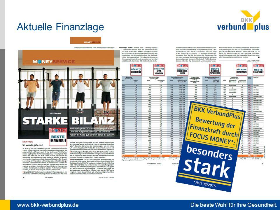 www.bkk-verbundplus.de Die beste Wahl für Ihre Gesundheit. Aktuelle Finanzlage