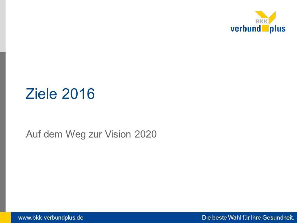 www.bkk-verbundplus.de Die beste Wahl für Ihre Gesundheit. Ziele 2016 Auf dem Weg zur Vision 2020