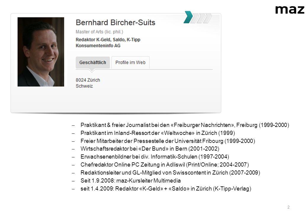 2  Journalistische Laufbahn:  Praktikant & freier Journalist bei den «Freiburger Nachrichten», Freiburg (1999-2000)  Praktikant im Inland-Ressort der «Weltwoche» in Zürich (1999)  Freier Mitarbeiter der Pressestelle der Universität Fribourg (1999-2000)  Wirtschaftsredaktor bei «Der Bund» in Bern (2001-2002)  Erwachsenenbildner bei div.