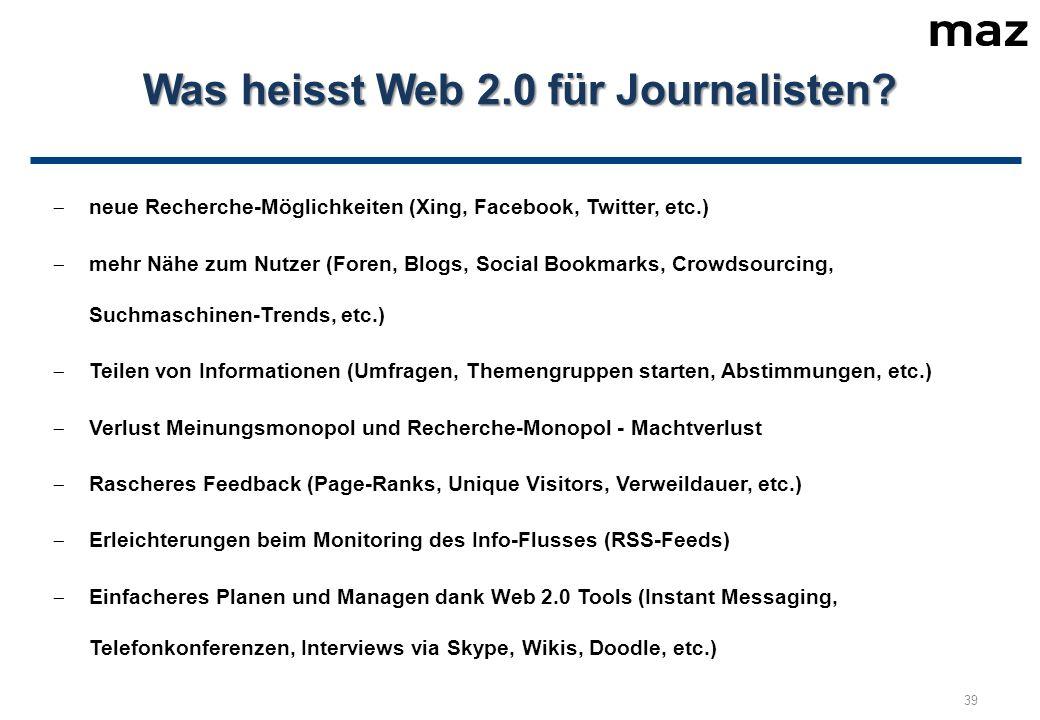 Was heisst Web 2.0 für Journalisten.