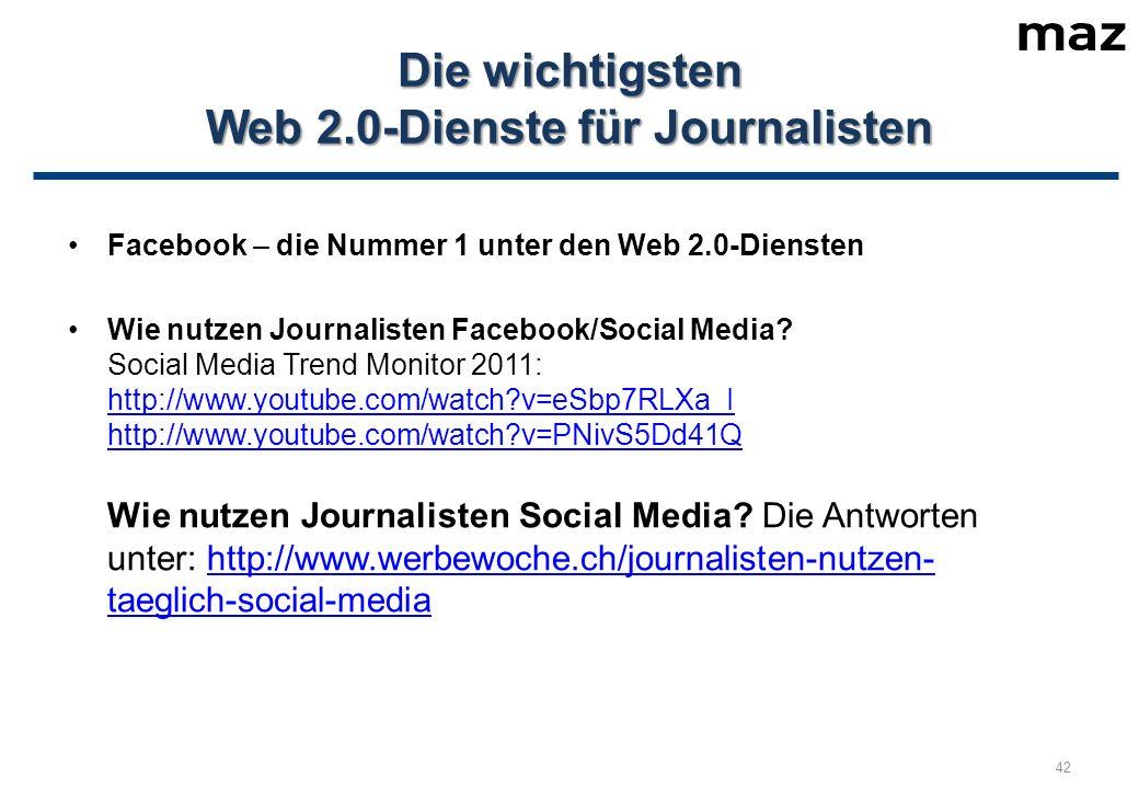 Facebook – die Nummer 1 unter den Web 2.0-Diensten Wie nutzen Journalisten Facebook/Social Media.