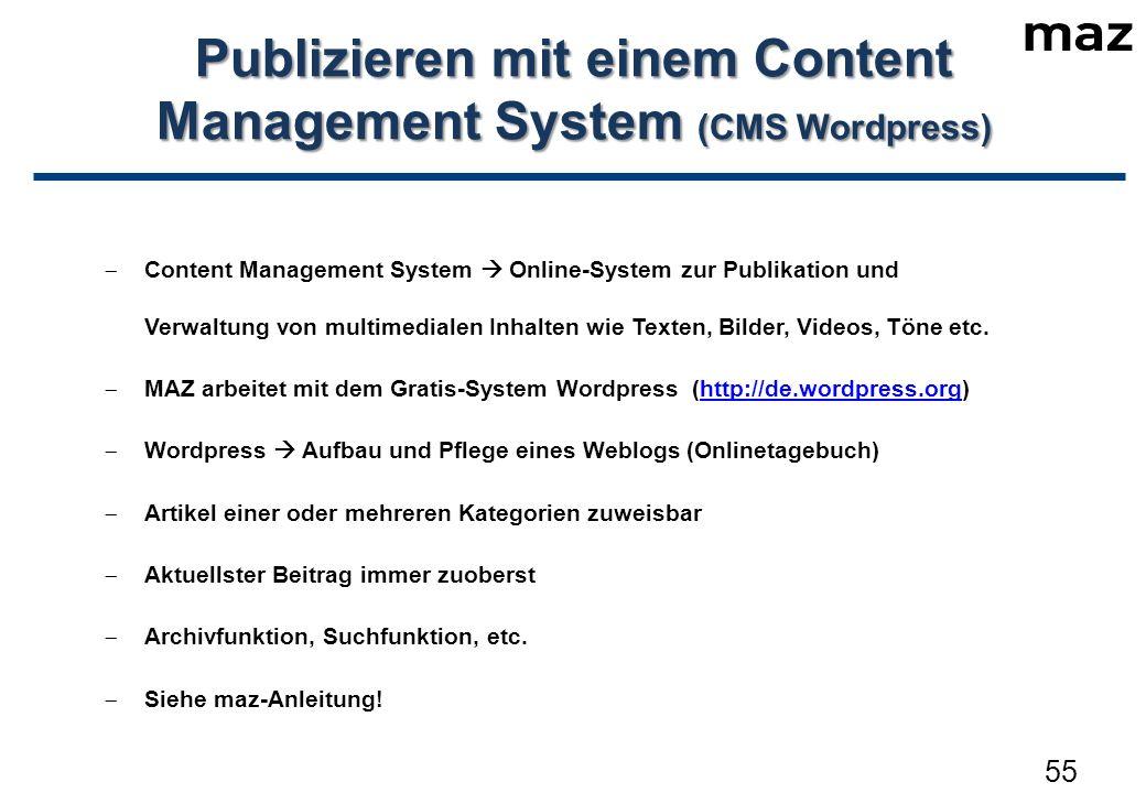  Content Management System  Online-System zur Publikation und Verwaltung von multimedialen Inhalten wie Texten, Bilder, Videos, Töne etc.