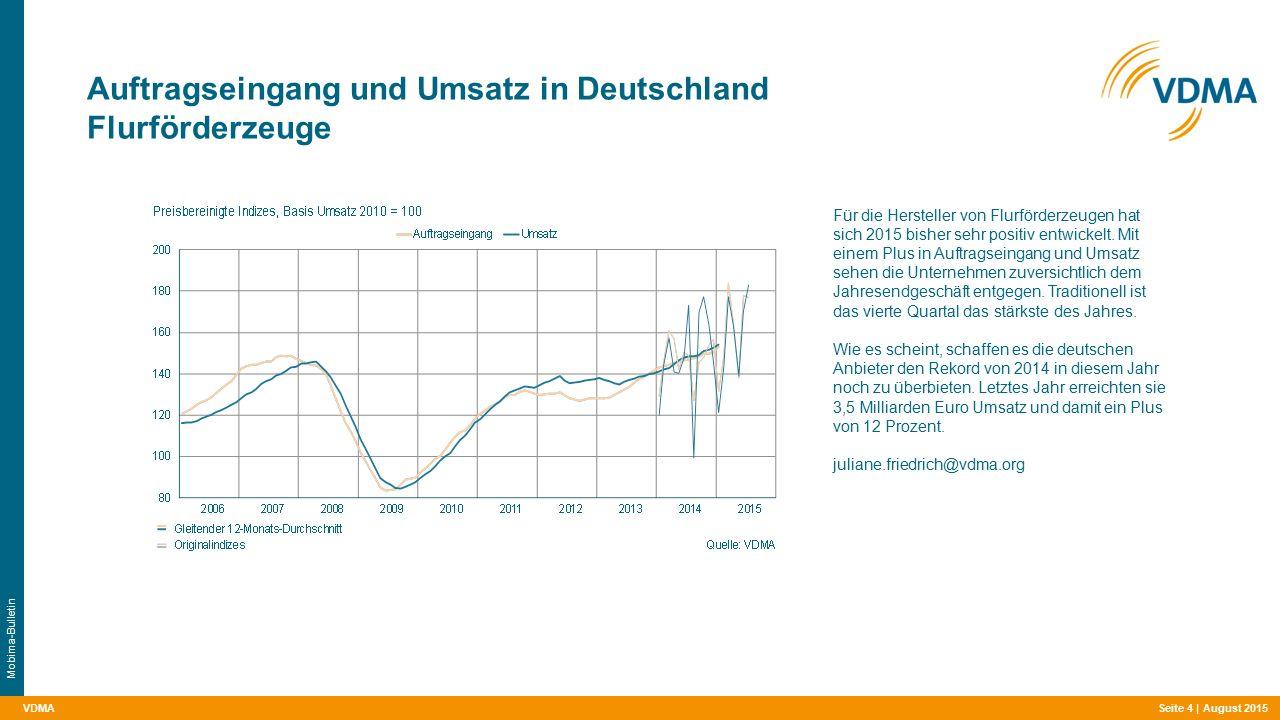 VDMA Auftragseingang und Umsatz in Deutschland Flurförderzeuge Seite 4 | August 2015 Mobima-Bulletin Für die Hersteller von Flurförderzeugen hat sich 2015 bisher sehr positiv entwickelt.