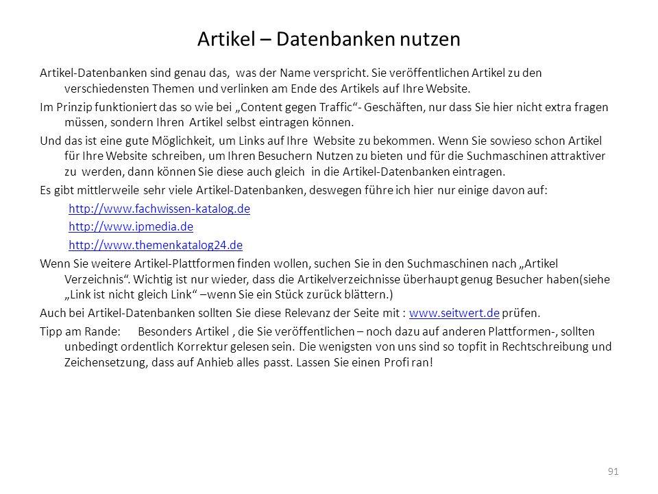 Artikel – Datenbanken nutzen Artikel-Datenbanken sind genau das, was der Name verspricht. Sie veröffentlichen Artikel zu den verschiedensten Themen un