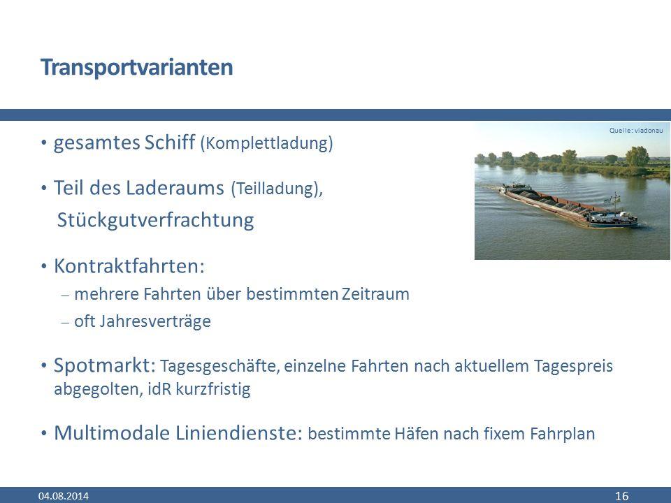 Transportvarianten gesamtes Schiff (Komplettladung) Teil des Laderaums (Teilladung), Stückgutverfrachtung Kontraktfahrten:  mehrere Fahrten über best