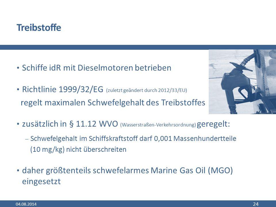 Treibstoffe Schiffe idR mit Dieselmotoren betrieben Richtlinie 1999/32/EG (zuletzt geändert durch 2012/33/EU) regelt maximalen Schwefelgehalt des Trei