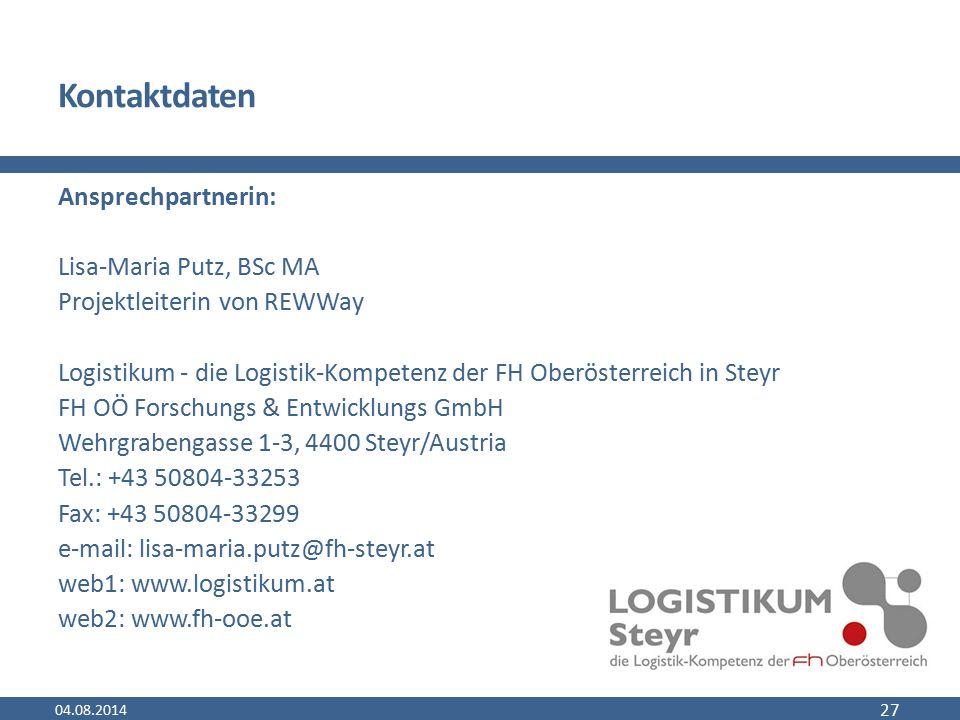Kontaktdaten Ansprechpartnerin: Lisa-Maria Putz, BSc MA Projektleiterin von REWWay Logistikum - die Logistik-Kompetenz der FH Oberösterreich in Steyr