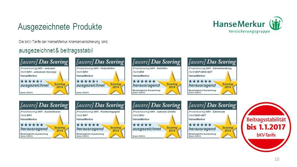 Ausgezeichnete Produkte Die bKV-Tarife der HanseMerkur Krankenversicherung sind: ausgezeichnet & beitragsstabil 10