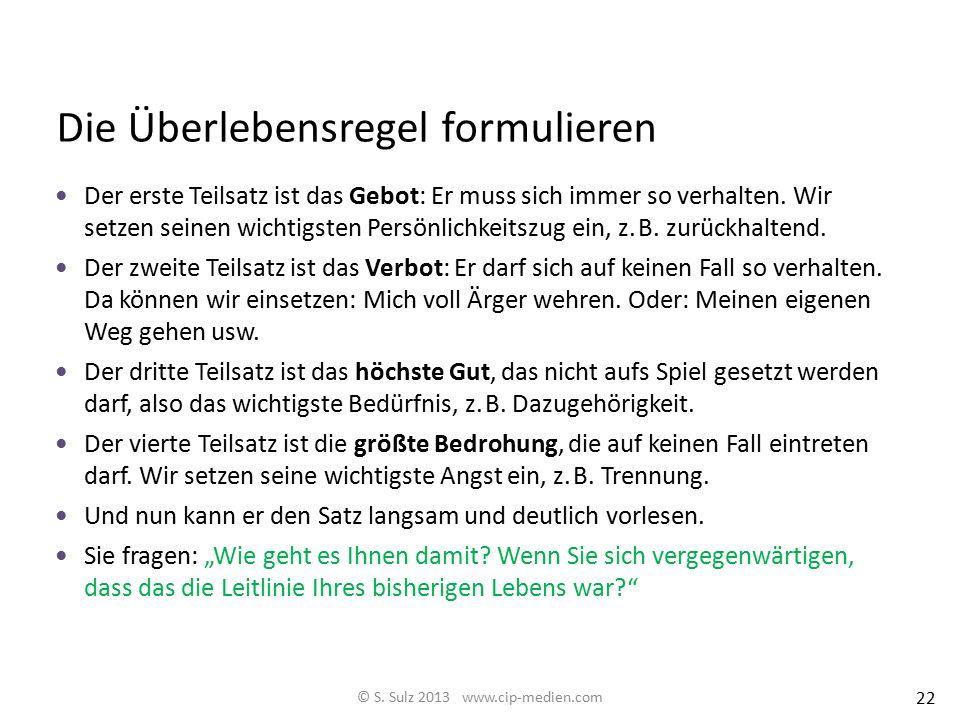 System-Schemaanalyse: Meine bisherige Überlebensregel © S. Sulz 2013 www.cip-medien.com Nur wenn ich immer.......................................... (