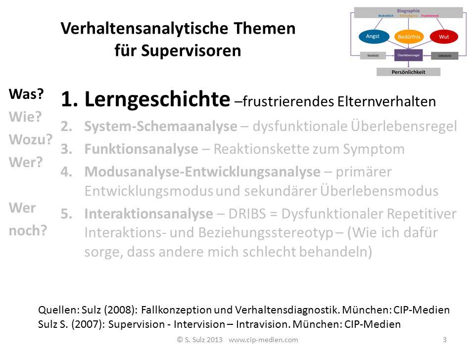 Verhaltensanalytische Themen für Supervisoren 1.Lerngeschichte –frustrierendes Elternverhalten 2.System-Schemaanalyse – dysfunktionale Überlebensregel