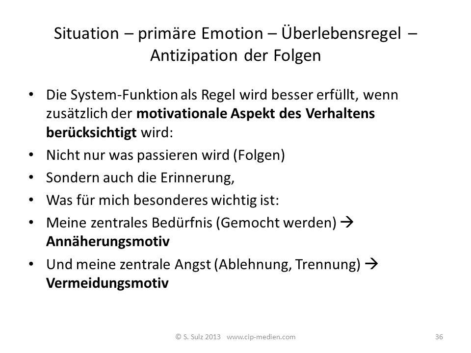 Die Symptom auslösende Situation primäre Emotion primärer Impuls Antizipation der Folgen sekundäres gegensteuerndes Gefühl beobachtbares Verhalten Sym