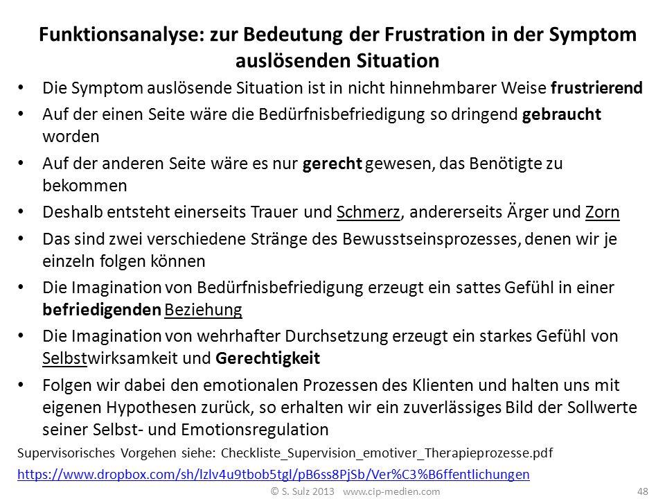 Funktionsanalyse 1: welche Bedürfnisbefriedigung und welche Gerechtigkeit? 47 © S. Sulz 2013 www.cip-medien.com
