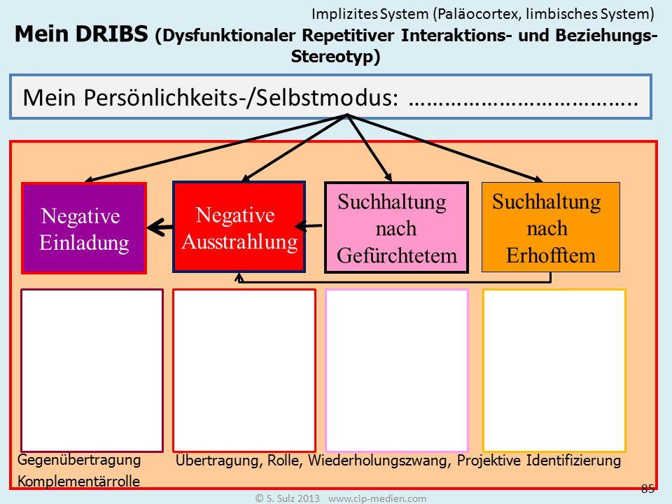 Dysfunktionaler Repetitiver Interaktions- und Beziehungs-Stereotyp DRIBS Unsere Überlebensregel sagt uns nicht nur, was wir zu tun und zu lassen haben