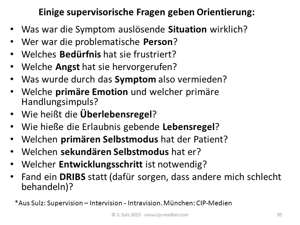 Perspektiven des Supervisors Blick auf Den Therapeuten (was denkt, fühlt er? Was braucht er) Den Patienten (wie geht es ihm mit dem Therapeuten und de