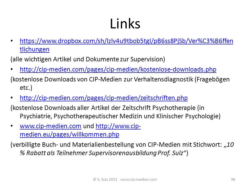 Literatur Zu Verhaltensdiagnostik und Fallkonzeption: Sulz S. (2007): Supervision - Intervision – Intravision. München: CIP-Medien Sulz S. (2011): The