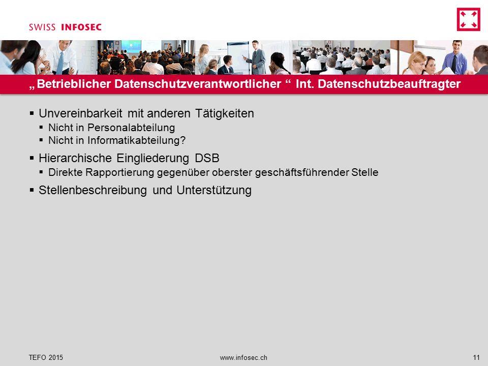 """""""Betrieblicher Datenschutzverantwortlicher """" Int. Datenschutzbeauftragter  Unvereinbarkeit mit anderen Tätigkeiten  Nicht in Personalabteilung  Nic"""