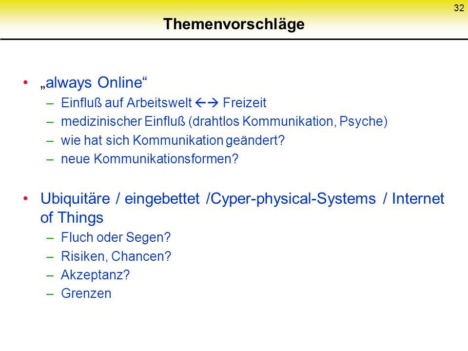 """Themenvorschläge """"always Online –Einfluß auf Arbeitswelt  Freizeit –medizinischer Einfluß (drahtlos Kommunikation, Psyche) –wie hat sich Kommunikation geändert."""