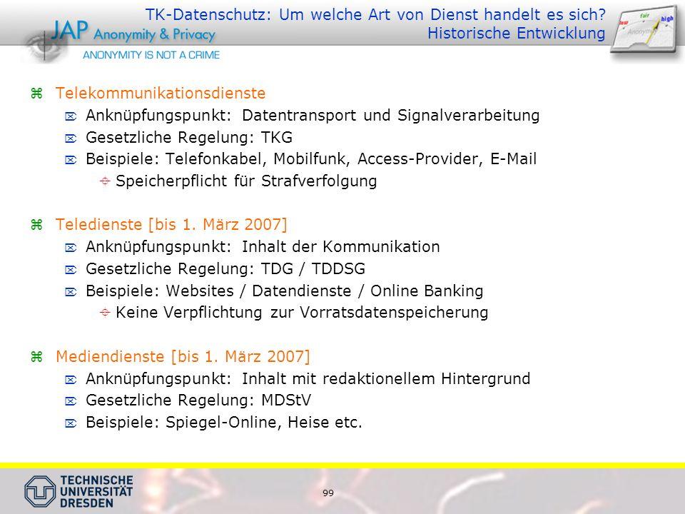 99 TK-Datenschutz: Um welche Art von Dienst handelt es sich.