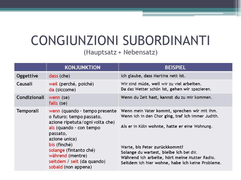 CONGIUNZIONI SUBORDINANTI (Hauptsatz + Nebensatz) KONJUNKTIONBEISPIEL Oggettivedass (che) Ich glaube, dass Martina nett ist.