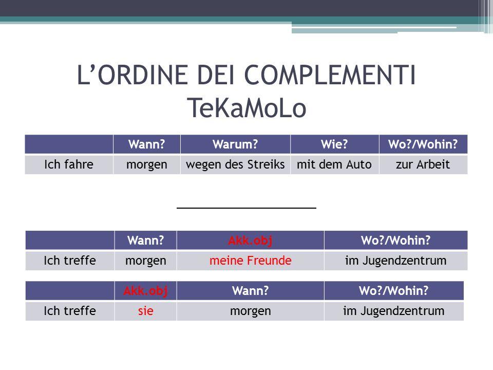 L'ORDINE DEI COMPLEMENTI TeKaMoLo Wann?Warum?Wie?Wo?/Wohin.