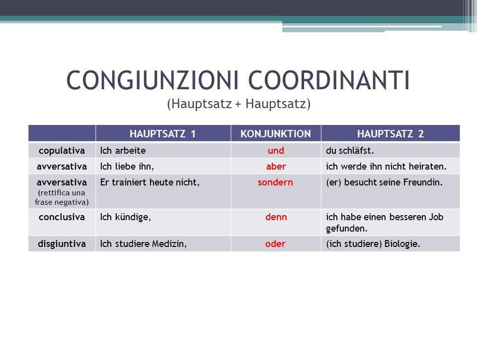 CONGIUNZIONI COORDINANTI (Hauptsatz + Hauptsatz) HAUPTSATZ 1KONJUNKTIONHAUPTSATZ 2 copulativaIch arbeiteunddu schläfst.