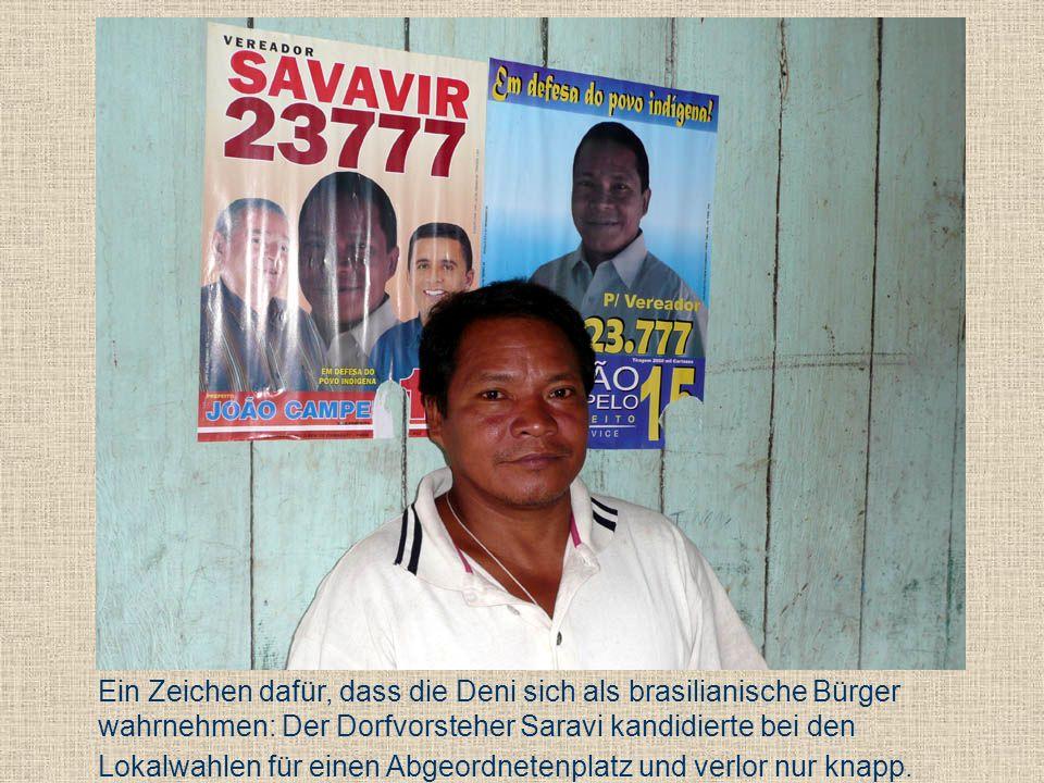Ein Zeichen dafür, dass die Deni sich als brasilianische Bürger wahrnehmen: Der Dorfvorsteher Saravi kandidierte bei den Lokalwahlen für einen Abgeordnetenplatz und verlor nur knapp.