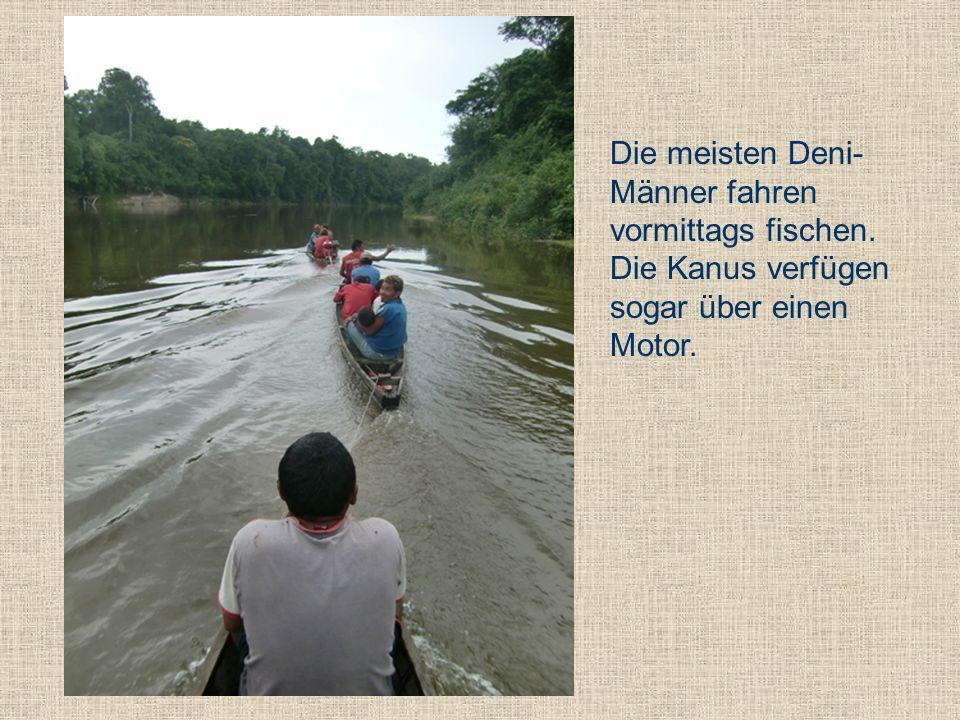 Die meisten Deni- Männer fahren vormittags fischen. Die Kanus verfügen sogar über einen Motor.