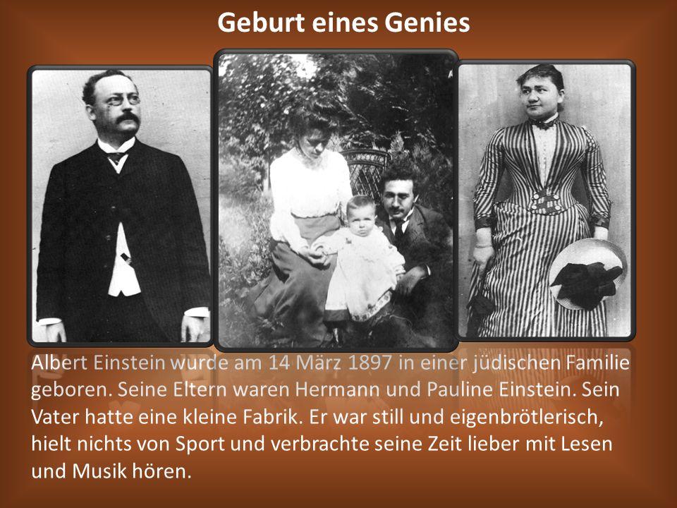 Albert Einstein wurde am 14 März 1897 in einer jüdischen Familie geboren. Seine Eltern waren Hermann und Pauline Einstein. Sein Vater hatte eine klein