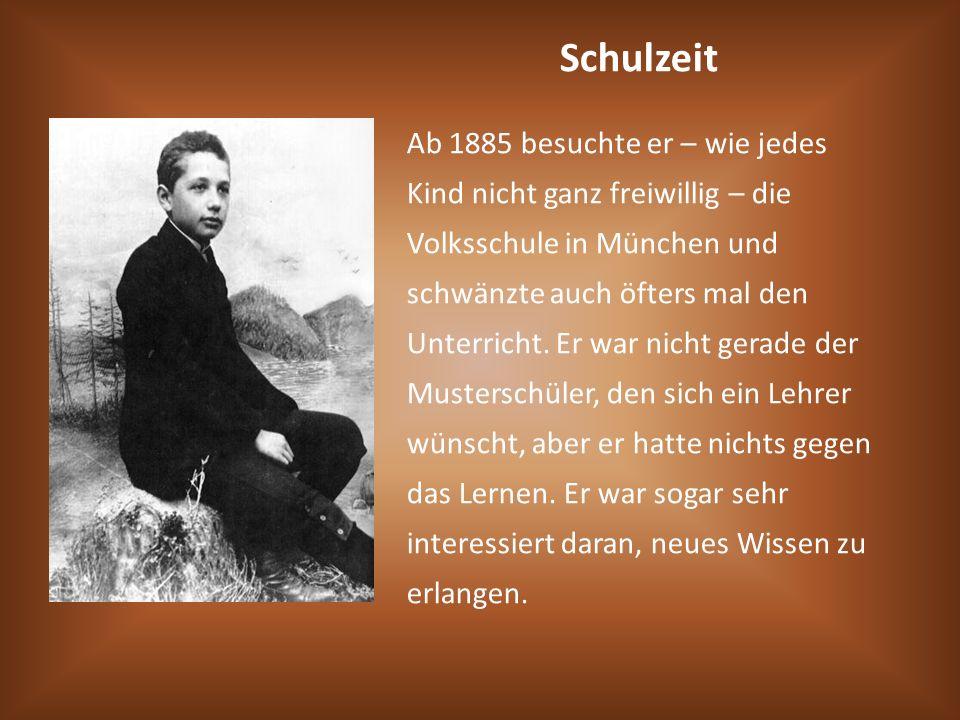 Schulzeit Ab 1885 besuchte er – wie jedes Kind nicht ganz freiwillig – die Volksschule in München und schwänzte auch öfters mal den Unterricht. Er war