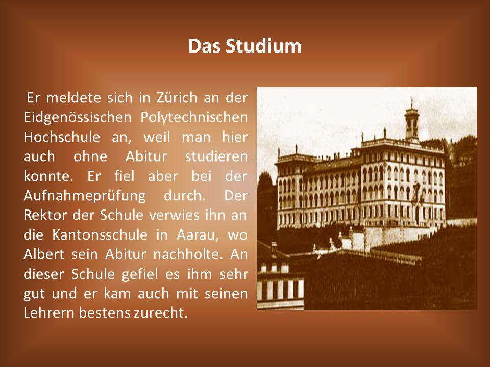 Das Studium Er meldete sich in Zürich an der Eidgenössischen Polytechnischen Hochschule an, weil man hier auch ohne Abitur studieren konnte. Er fiel a