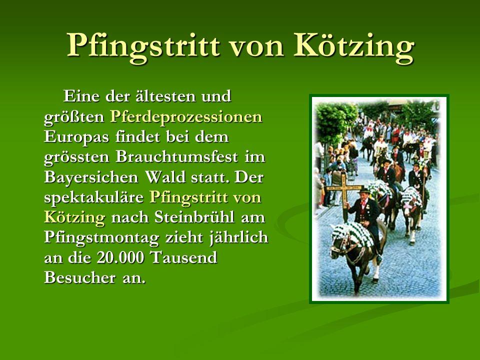 Pfingstritt von Kötzing Eine der ältesten und größten Pferdeprozessionen Europas findet bei dem grössten Brauchtumsfest im Bayersichen Wald statt.